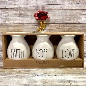 NWT Rae Dunn Faith, Hope, Love 3 Bud Vases